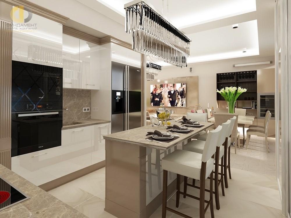зал совмещенный с кухней дизайн фото