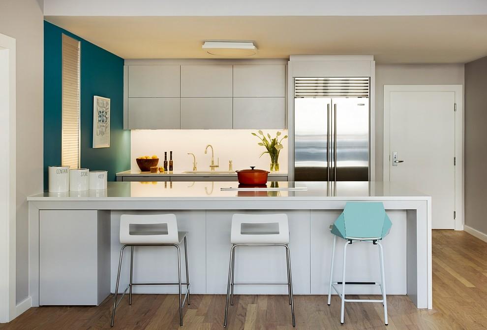 кухня прямая 4 метра с холодильником
