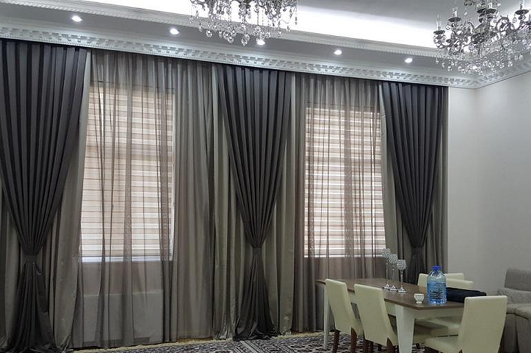 шторы на три окна в зал фото