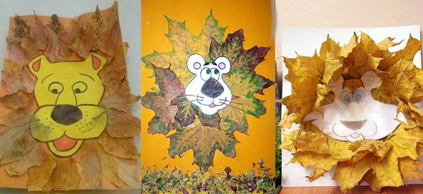 узор или фигурка из опавших листьев