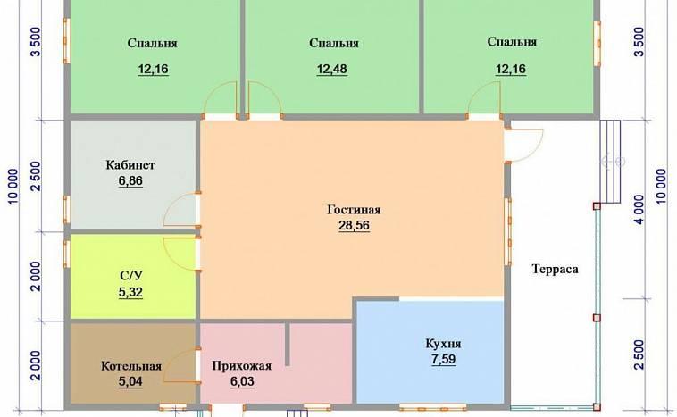 Планировка дома 12 на 12: проекты одноэтажных построек из бруса, газобетона, кирпича, с гаражом и без, стоимость фундамента