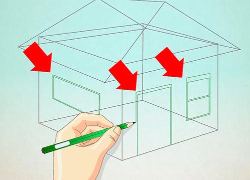 нарисовать деревянный дом