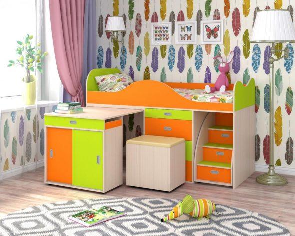 Двухъярусные кровати со столом (46 фото): кровать-трансформер со шкафом и выдвижным столом внизу