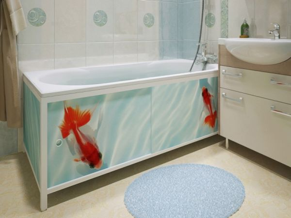 Экран под ванной из плитки - разновидности и особенности монтажа