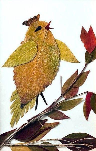 коллаж из осенних листьев в детском саду