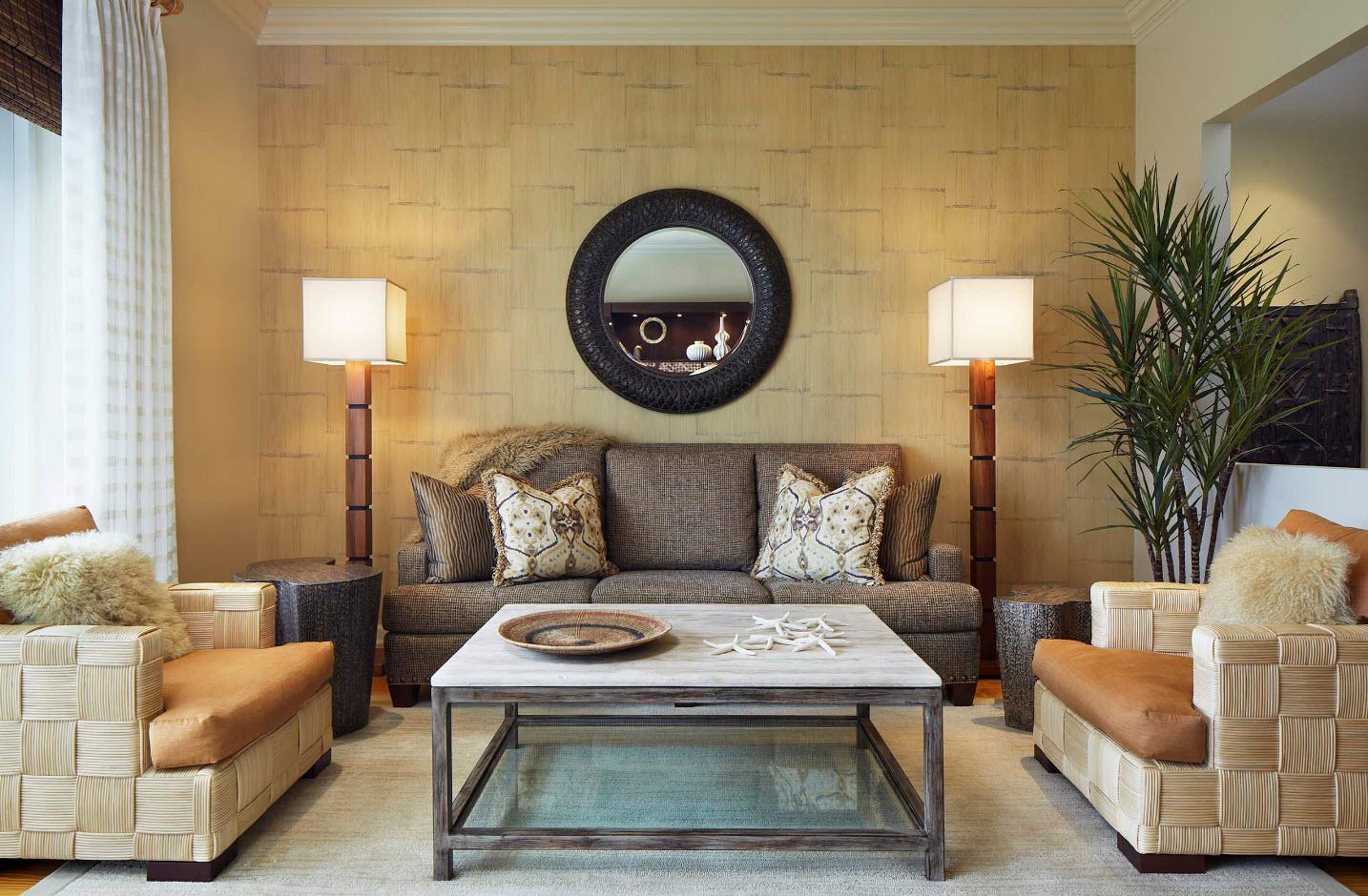 Комбинирование обоев в гостиной: 70 фото, идеи интерьеров зала