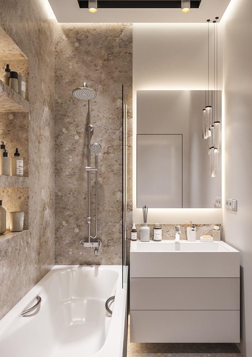 современный дизайн ванной комнаты маленького размера