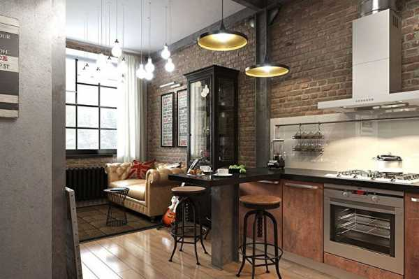 кухня в стиле лофт с барной стойкой