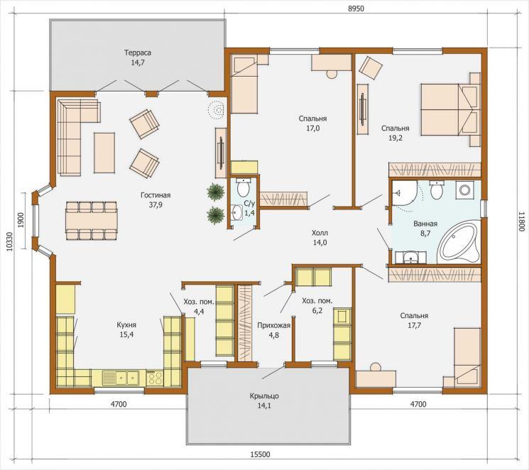проект одноэтажного дома 120 м2