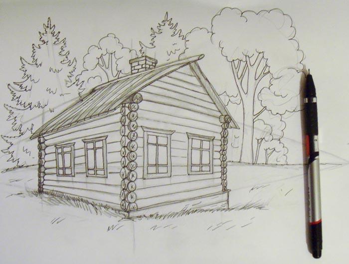 Как нарисовать коттедж? учимся рисовать карандашом за 30 дней!
