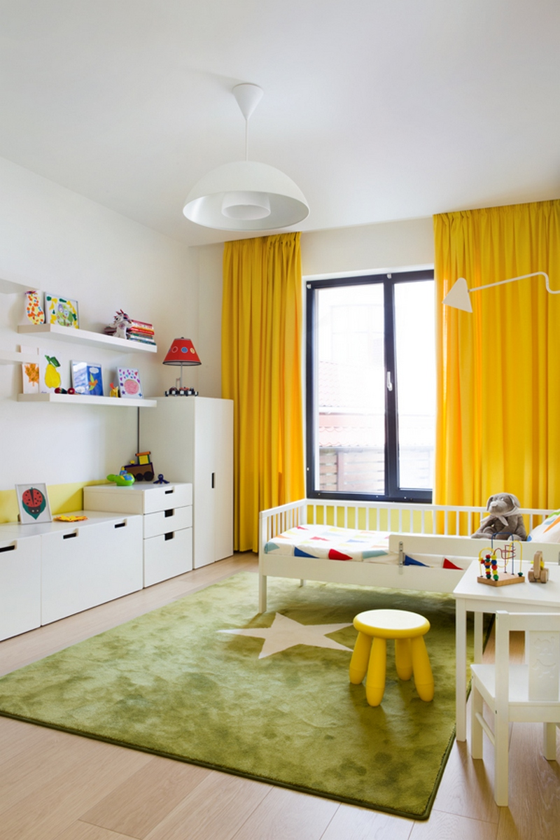 45+ позитивных желтых штор в интерьере