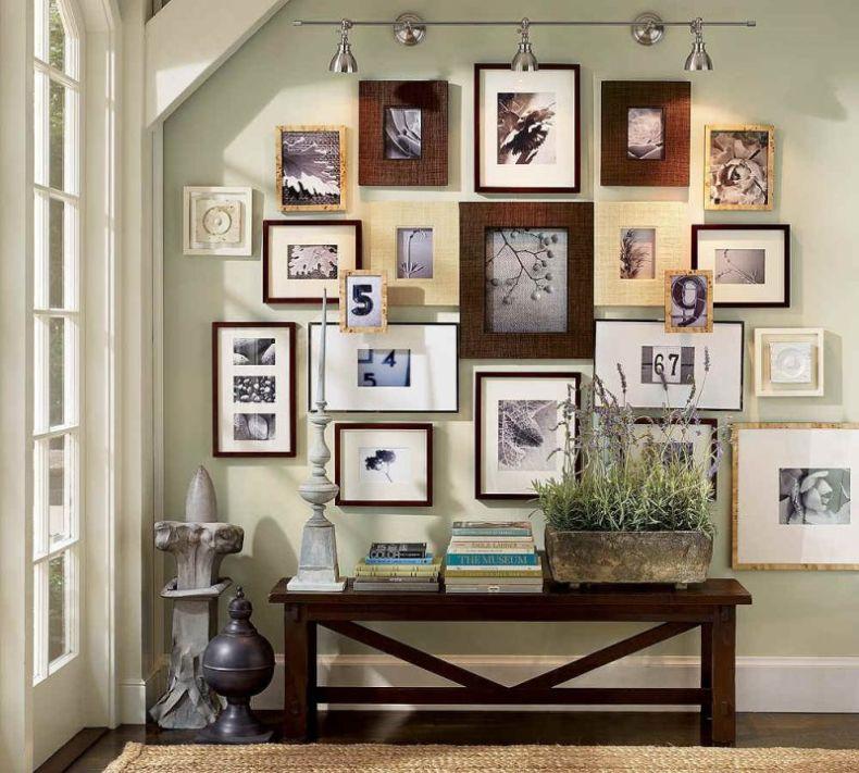 Оформление стен фотографиями в рамках