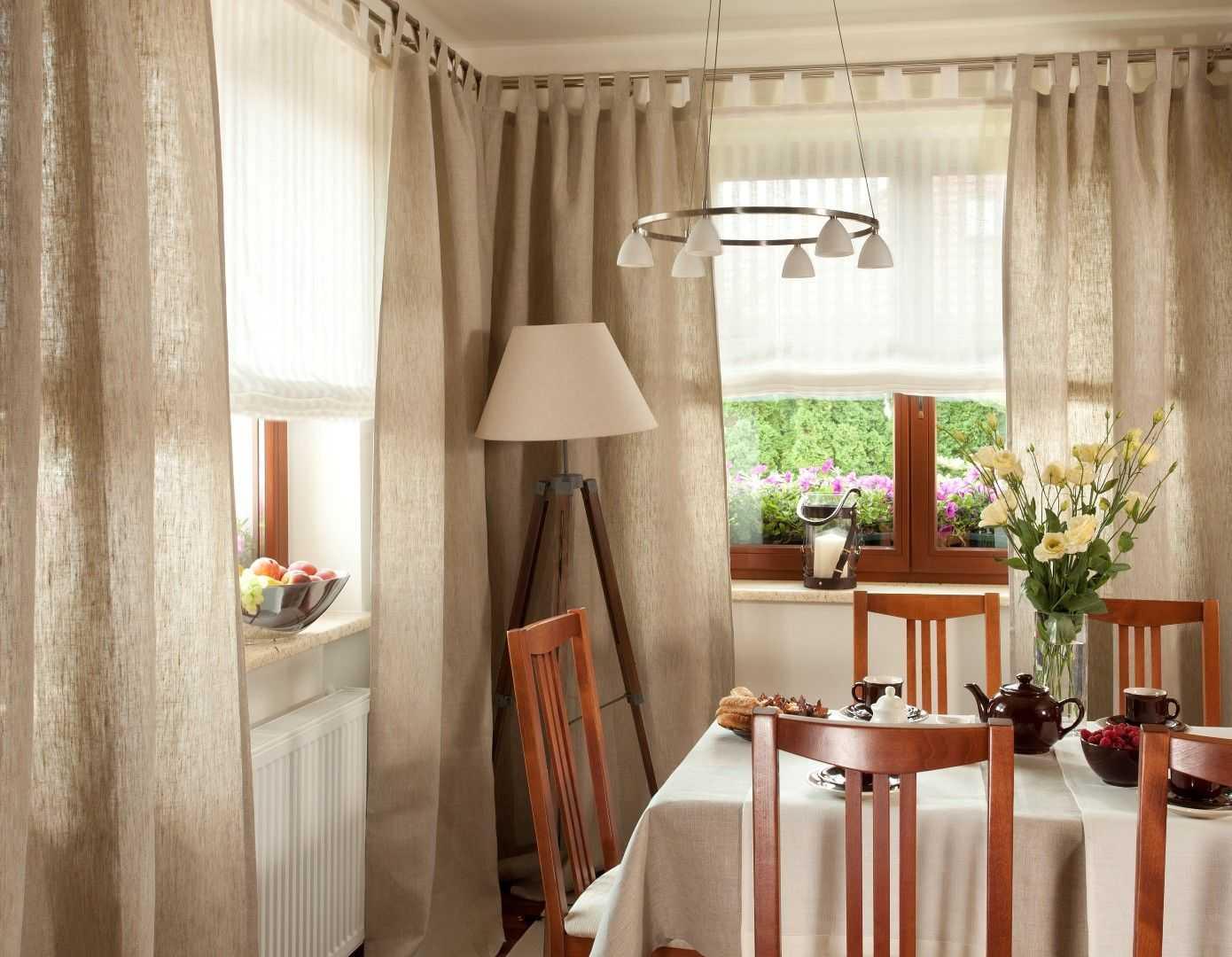 гардины и шторы для кухни фото