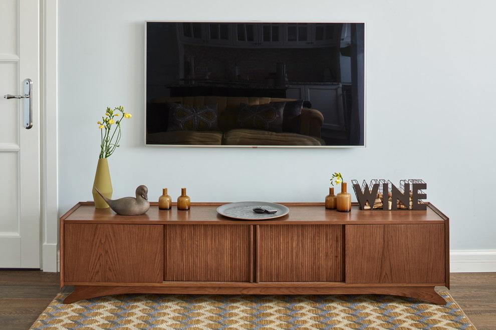 Длинная тумба под телевизор - виды и устройство | фото