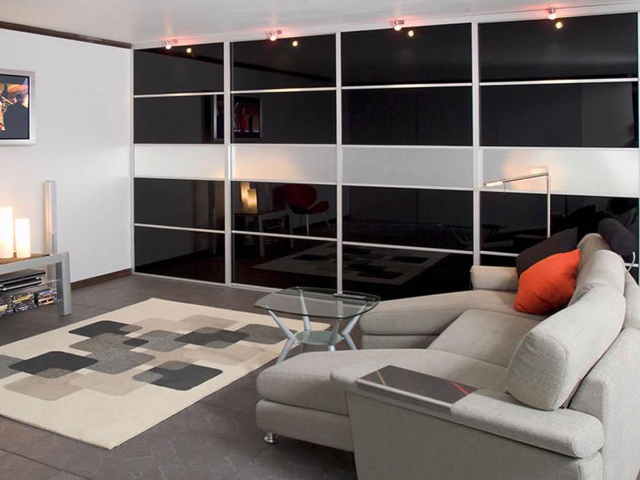 Шкаф купе в гостиную: во всю стену, современный, дизайнерский