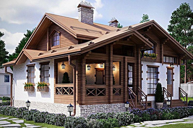 дома шале одноэтажные с террасой