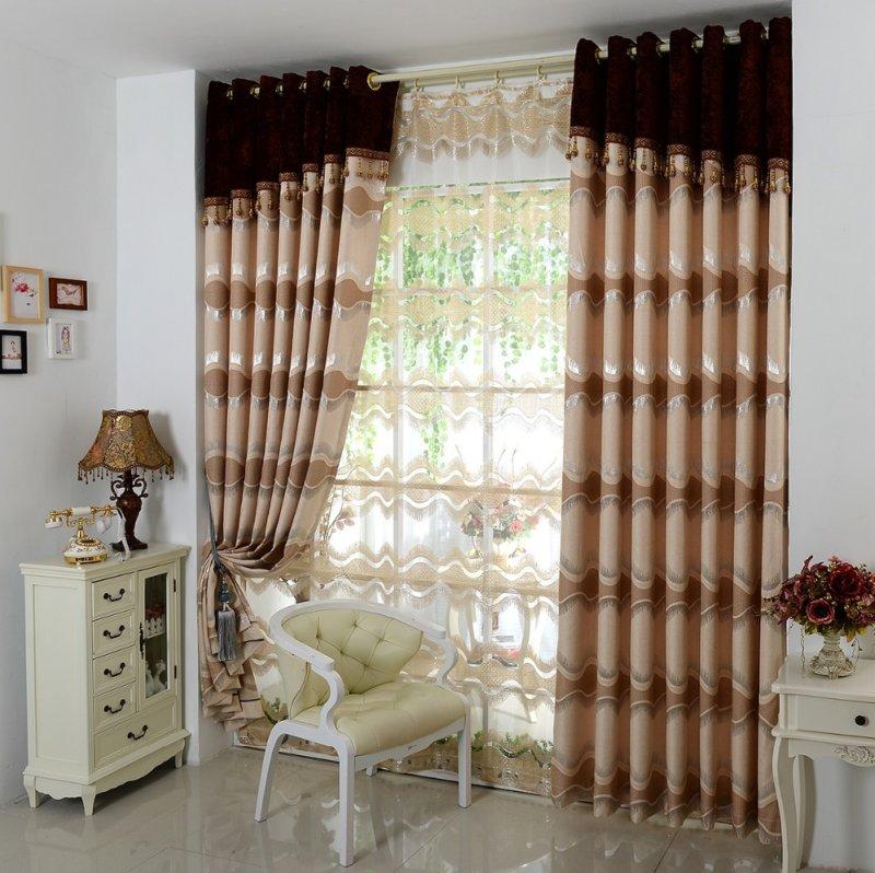 Коричневые шторы в интерьере | домфронт
