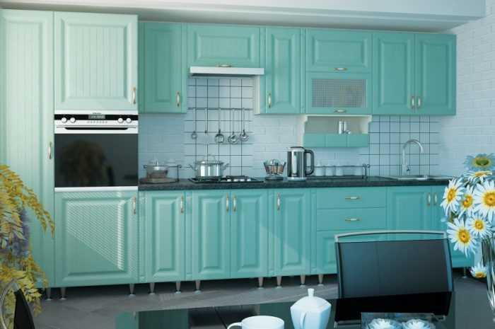 Дизайн фиолетового цвета в интерьере кухни