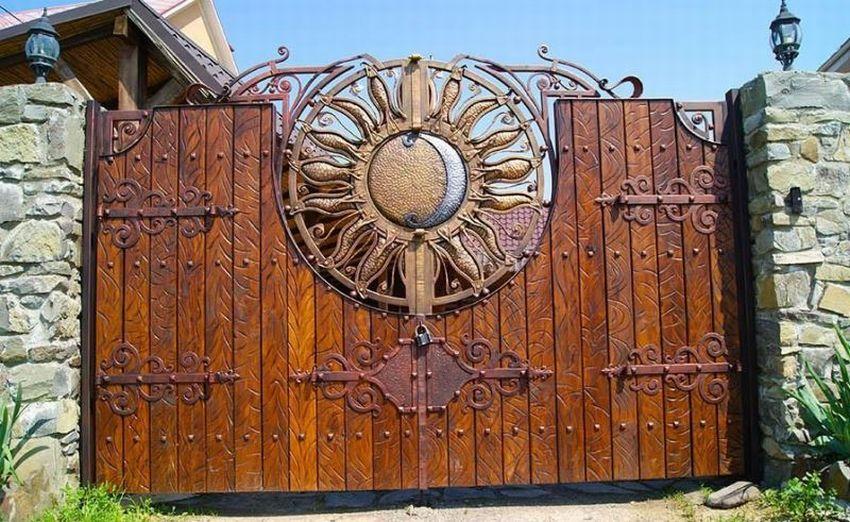 Кованые ворота - 120 фото идей выбора материала и применения в ландшафтном дизайне
