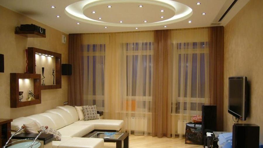 Двухуровневые потолки в зале: 135+ (фото) натяжных / навесных