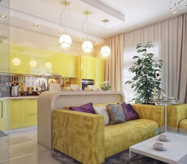шторы между кухней и гостиной