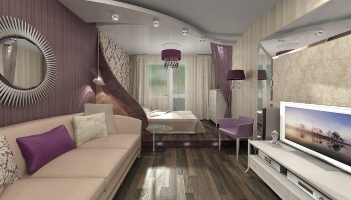 зонирование комнаты на спальню и гостиную 20