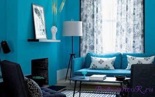 Голубые шторы в интерьере: красивые фото с примерами дизайна
