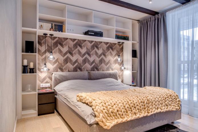 Полки над кроватью - 73 фото примера