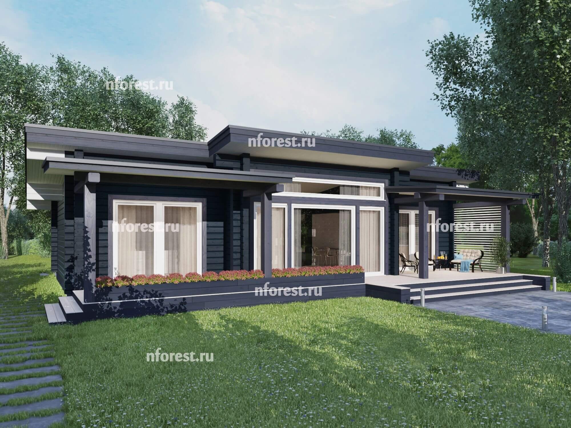 Дом из бруса с панорамными окнами: прекрасный вид изнутри и снаружи