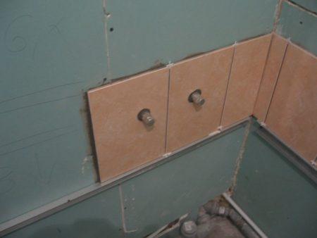 гипсокартон в ванной комнате под плитку