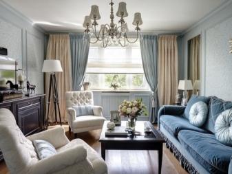 Шторы в комнату с голубыми акцентами. особенности и вариации. - арт интерьер