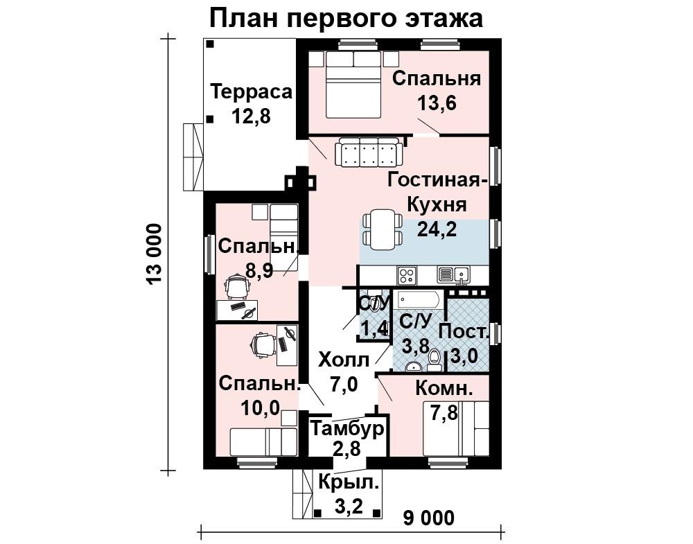 Проект одноэтажного дома с четырьмя спальнями – на что следует обратить внимание при выборе варианта
