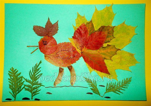 жар птица поделка из листьев