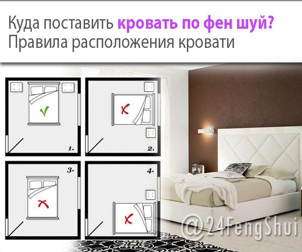 Кровать по феншуй - расположение по сторонам света, материал, размер изголовья
