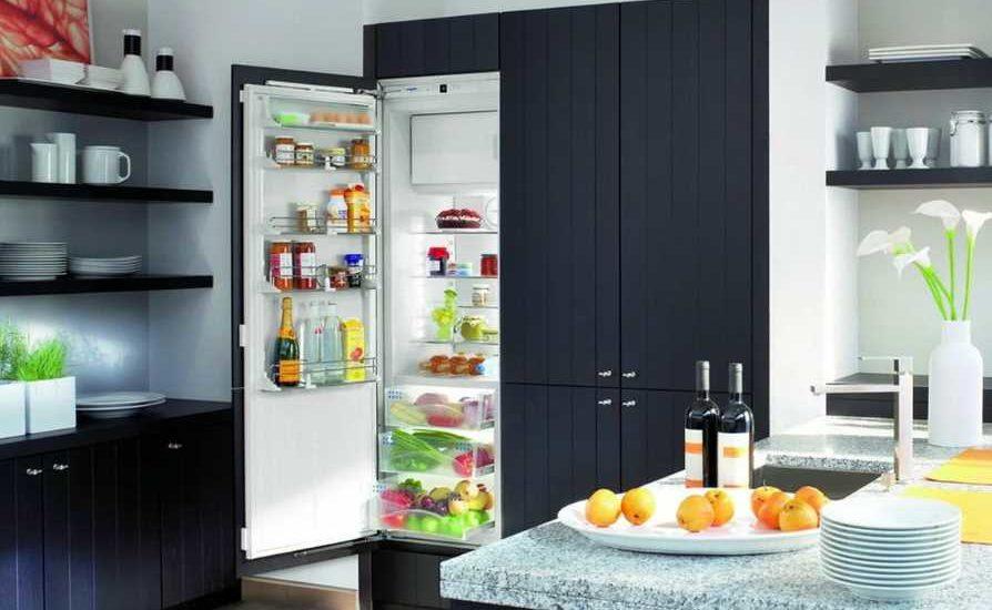 встроенный холодильник в кухонный гарнитур фото