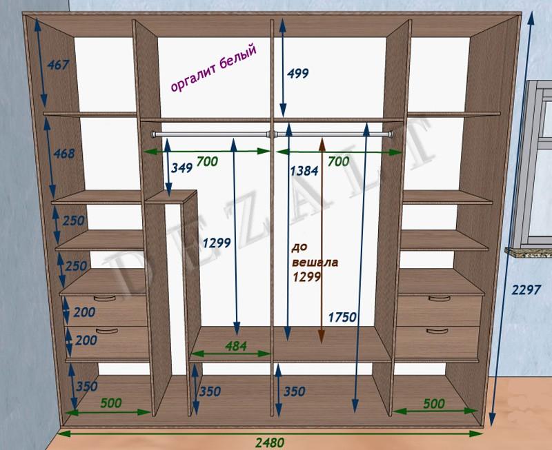 Наполнение шкафа: организация пространства и хранения вещей в шкафу своими руками, высота штанги для одежды