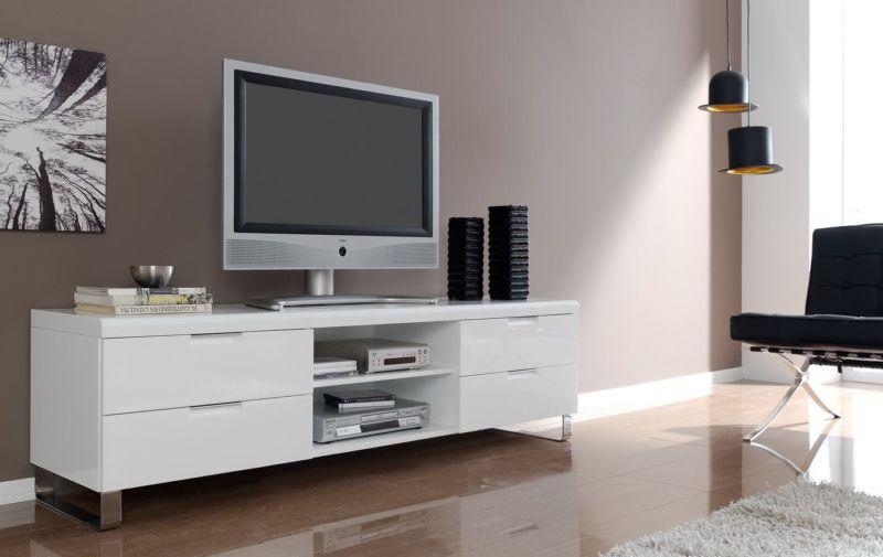 навесная тумба под телевизор в современном стиле