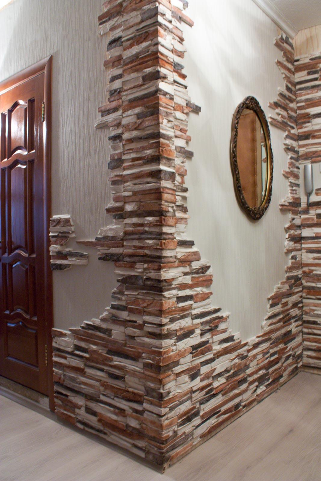 Отделка стенок кухни декоративным камнем своими руками