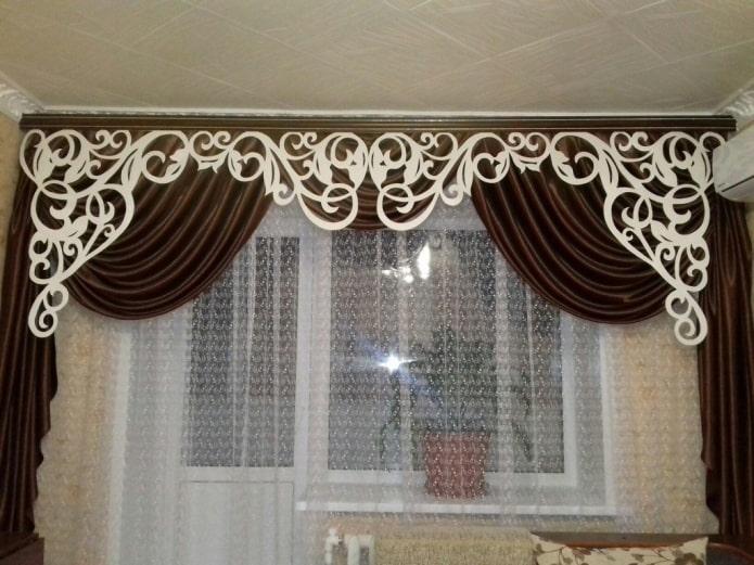 Дизайн шторы с ламбрекеном на кухню + 145 фото