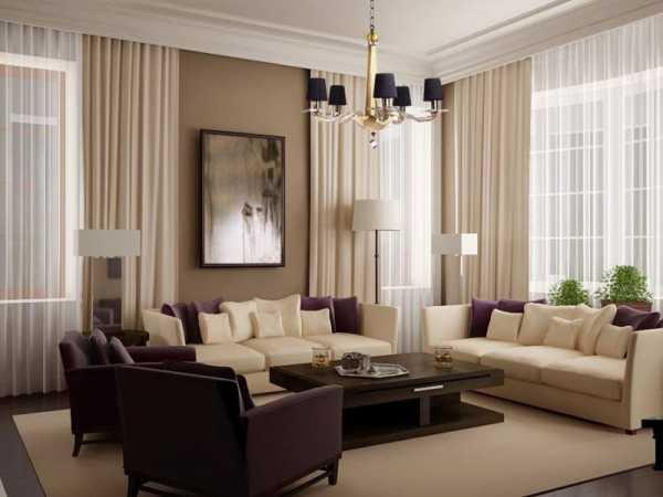 Коричневые шторы в интерьере гостиной