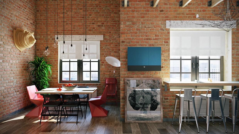 Кирпичная стена: использование открытой кладки в интерьере комнат