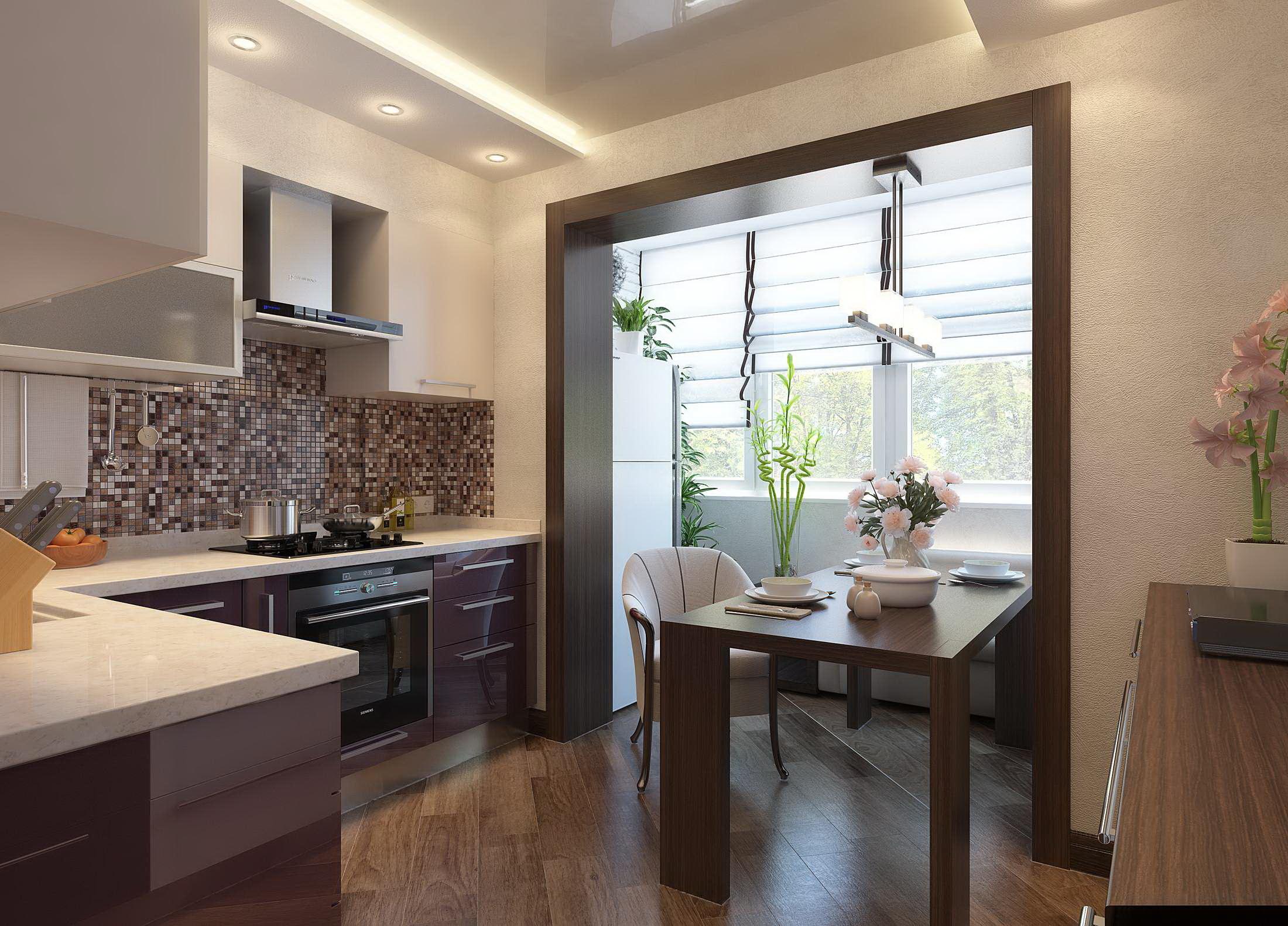 Дизайн балкона, совмещенного с кухней (72 фото): интерьер совмещенной кухни, шторы, интерьер после объединения