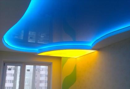 Светящийся натяжной потолок - преимущества и недостатки, варианты оформления