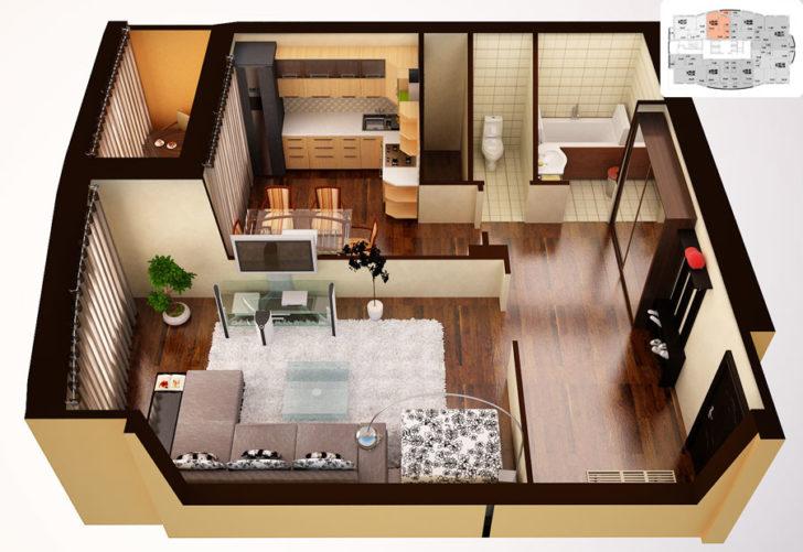 Дизайн квартиры 55 кв. м. - сочетания стилей и подбор общего дизайна (150 фото)