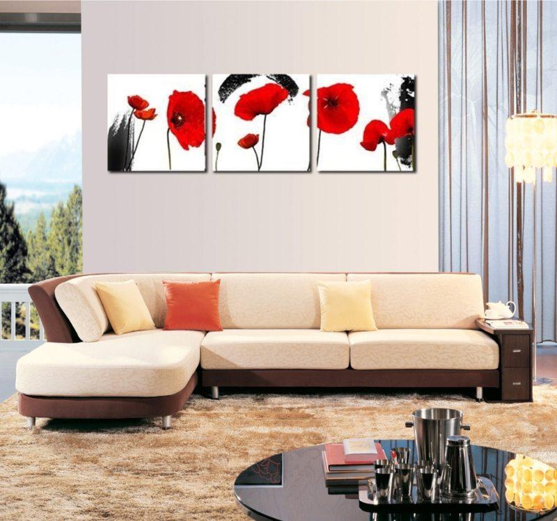 5 основных способов повесить модульные картины на стену: 50 фото и 1 видео