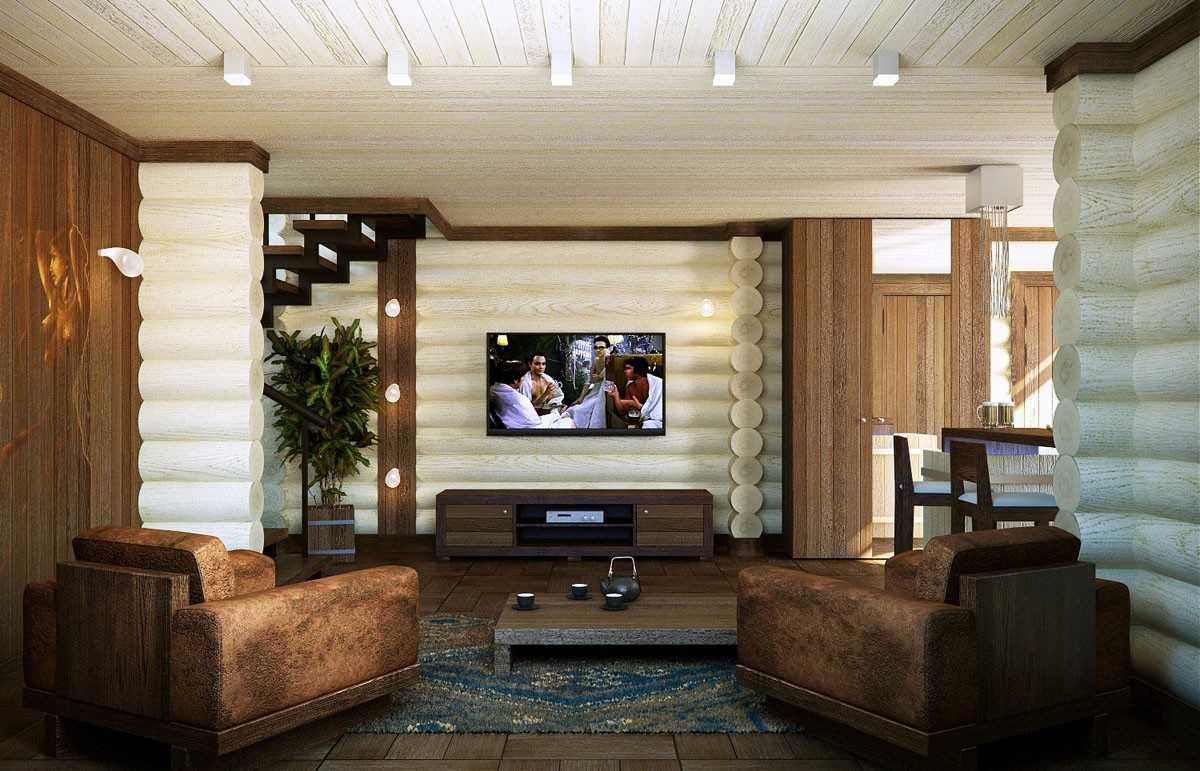 Отделка деревянного дома внутри: примеры интерьера