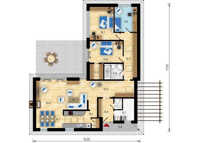 проекты г образных одноэтажных домов