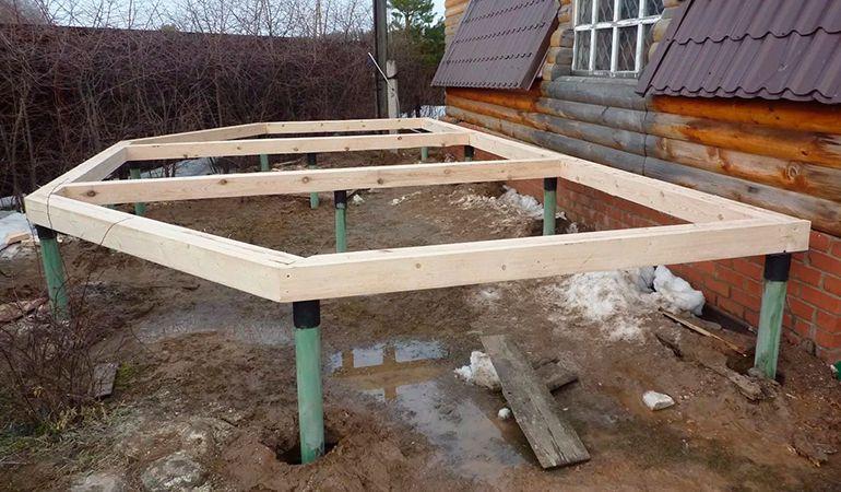 Строительство фундамента для веранды своими руками