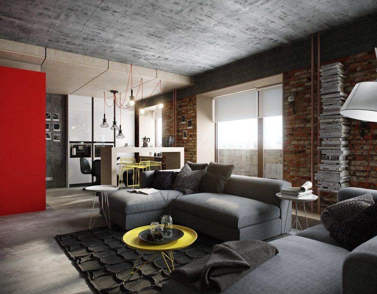 Оформление потолка в квартире в стиле лофт