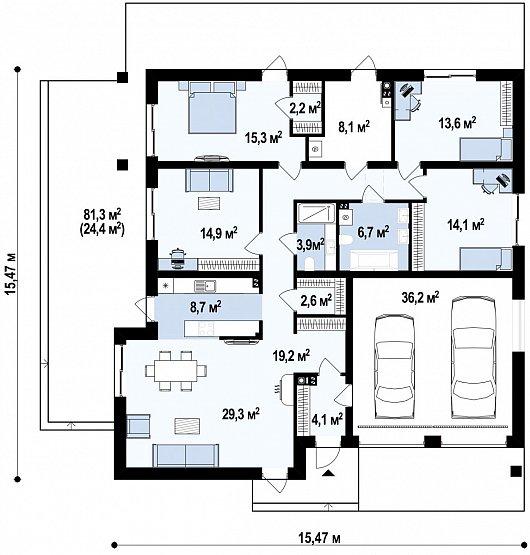 проект одноэтажного дома с четырьмя спальнями